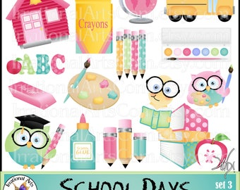 School Days set 3 - 17 digital clipart graphics owl graduation apple paint palette teacher librarian Grads Smart OWL books glue paint pencil