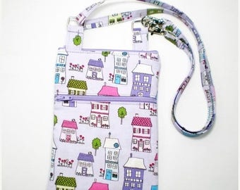 Summer Clearance iPhone Cell Phone Case, Smartphone Phone Purse, Small Cross Body Bag, Adjustable Strap, Purple with Houses