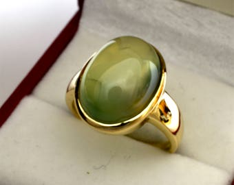 AAAA Prehnite Cabochon 10.74 carats  16x12mm in 14K Yellow gold ring, also available in Rose or White gold 1104