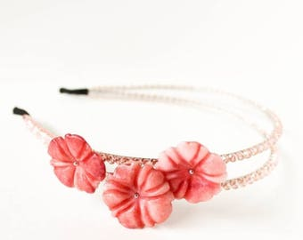 HALF PRICE SALE Pink flower and pink aurora borealis crystal beaded double headband Clearance