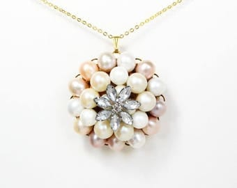 HALF PRICE SALE Vintage crystal flower blush pink and peach pearl gold necklace