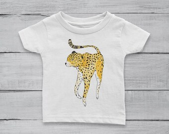 Wild Cheetah Watercolor Baby Girl or Boy 100% Cotton Jersey T-shirt