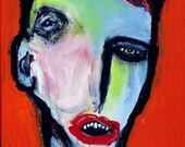 original 13x10 inch Jeff HUGHART abstract outsider art lowbrow goth folk painting SHUCKS