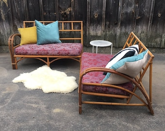 Rattan Bamboo Loveseat Couch / Sectional