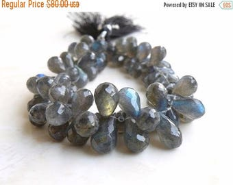 Deep Discount Sale Labradorite Gemstone Briolette AAA Grey Faceted Teardrop Drilled 8 to 9.5mm 80 beads