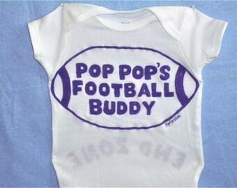 Football Baby, Football Buddy Baby Bodysuit, Choose Team Colors, Custom Wording, Baby Football One Piece, Endzone Back Details,