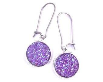 Violet Faux Druzy Earrings Stainless Steel Kidney Earwires
