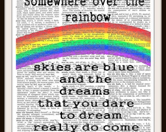 Somewhere over the Rainbow Skies are Blue- Vintage Dictionary Art Print--Fits 8x10 Mat or Frame