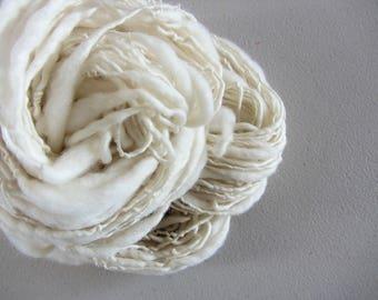 Natural Undyed, Handspun Fine Merino Art Yarn