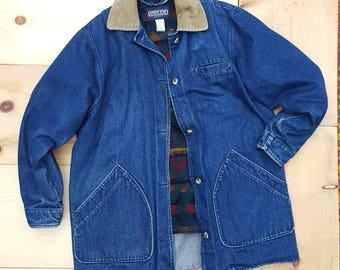 Vintage Denim Jacket  //  Vtg L.L. Bean Made in the USA Denim Chore Jacket w/ Corduroy Collar and Removable Blanket  Lining