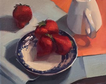 "Art painting still life by Sarah Sedwick ""Four Strawberries"" 10x10 inches, oil on canvas"