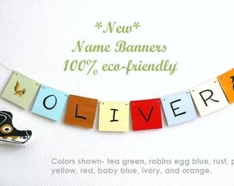 Name Banner, Custom name banner, wooden name banner, create a name banner, art for kids, nursery art, animals, hearts, stars, art, banner