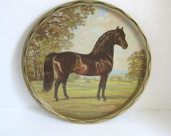 Vintage Horse Stallion Stud Round ServingTray Wall hanging