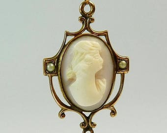 Edwardian Cameo Seed Pearl Lavalier Pendant Necklace