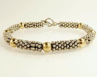 Bali Bead Bracelet Sterling Silver 925 & 14K Gold Bead Bracelet