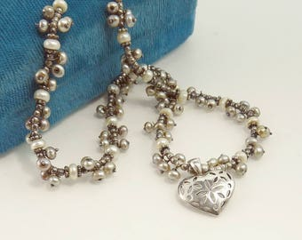 Sterling 925 Cluster Pearl Necklace Heart Pendant Gray & White Pearls