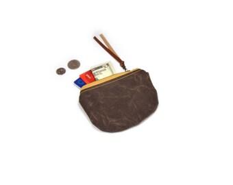 coin purse • small waxed canvas pouch • dark brown waxed canvas - simple coin pouch - gifts under 20