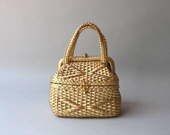 Vintage Rosenfeld Purse / 1950s Metallic Gold Basket Weave Rosenfeld Bag / Satin Lined Made in Italy 1960s Rosenfeld Handbag