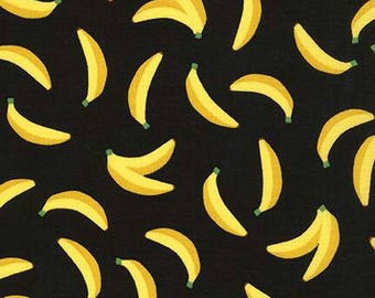 Bananas Black Sevenberry Mini Print Robert Kaufman Fabric