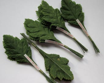 5 bundles of 12 leaves nylon fabric made in Japan MIJ for flower floral arranging, millinery, fascinators etc.