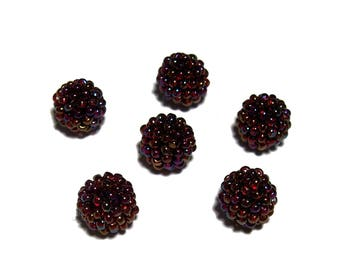 Dark Red AB beaded beads handmade 10mm beads 6pcs