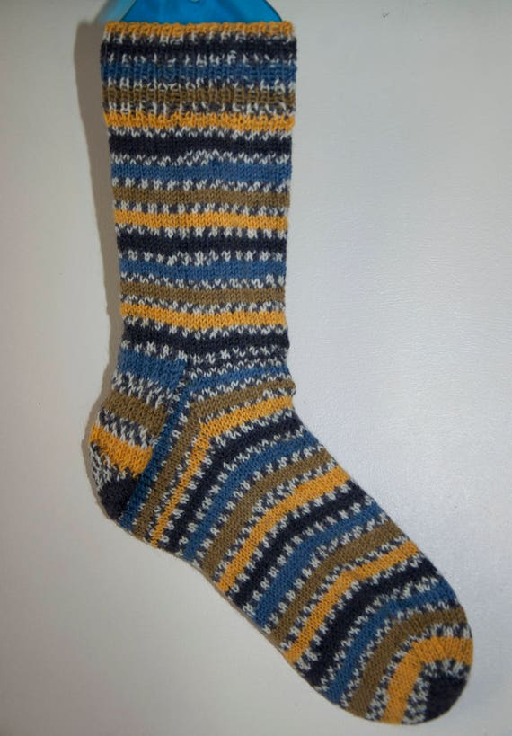 Handknitted Socks in Blues, Greens and Yellows Colours