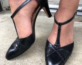Vintage T-strap snake skin ferragamo heels