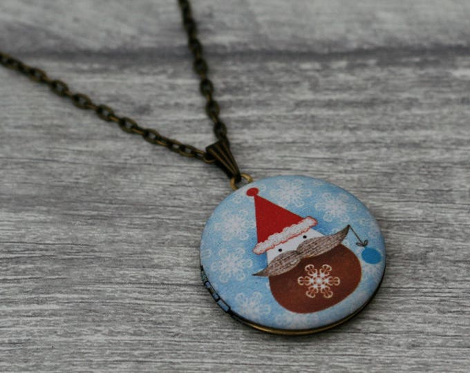 Santa Locket Necklace, Father Christmas Necklace, Woodland Jewelry, Christmas Locket