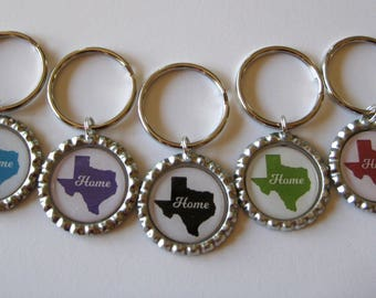 For ONE Home Choose Your State and Color Bottle Cap Keychain