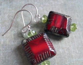 QUICKIE SALE 15% OFF, Peridot and Red Czech Glass Square Earrings, Czech Glass Earrings, Christmas Gift, Gift Idea, Red Earrings, Gemstone E