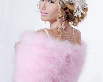 Promo Sale: Sweet Pink Bridal Marabou Wrap