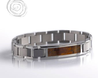 Chechen Burl Bracelet, Wood And Stainless Steel Bracelet Set, Interchangeable Bracelet