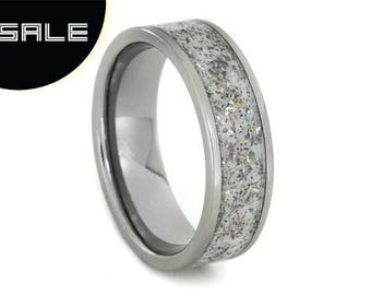 SALE - Unique White Stardust Wedding Band For Him or Her, Titanium Ring inlaid With Meteorite And Yellow Gold Shavings, Meteorite Star