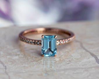 Aquamarine Engagement Ring, Diamond Eternity Band In Rose Gold