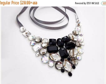 ON SALE Black and White Bib Necklace, Rhinestone Bib Necklace, Black and Grey Rhinestone Statement Necklace, Jeweled Bib, Black and Gray Nec