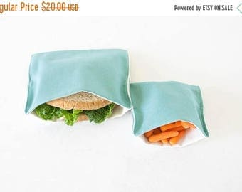 ON SALE PLASTIC-Free Aqua Blue Sandwich and Snack Bags, Reusable, Organic Cotton, Eco Friendly - Set of 2