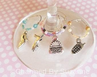 Girlie Girl Wine glass charm set (of 4), wine charms, gift for her, hostess gift, girls night