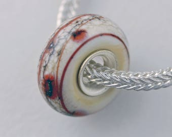 Unique Organic Ivory and Coral Bead - Artisan Glass Bracelet Bead - (DEC-64)