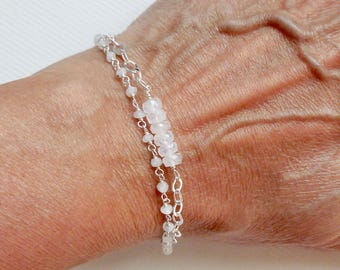 Double Strand Moonstone Tassel Bracelet, Sterling SIlver Moonstone Gemstone Tassel Bracelet - White Tassel Bracelet
