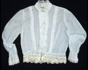 Vintage 70s Blouse Victorian Inspired Cotton Gauze Lace High Neck S M