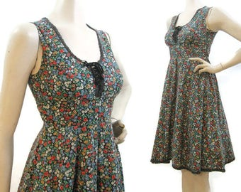 Vintage Gunne Sax Dress Ditzy Floral Prairie Hippie Summer Corset Lacing Sundress S