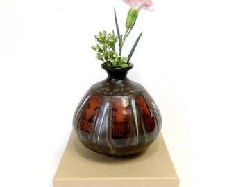 1970s Stoneware Weed Pot/  Vintage Studio Pottery Petite Dripware Vase in Dark Earth tones