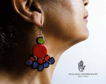 Multi Color Dots Triangular Earrings