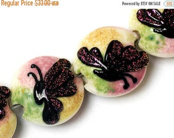 ON SALE 35% OFF Four Pink Sparkle Garden Butterfly Lentil Beads - Handmade Glass Lampwork Bead Set 11008412