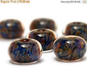 ON SALE 30% off Six Yellow w/Blue Rondelle Beads - Handmade Glass Lampwork Bead Sets 10409821