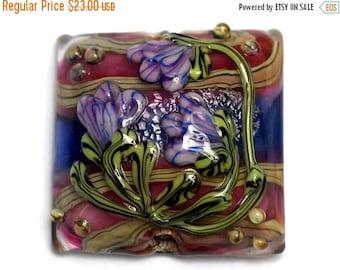 ON SALE 30% off Grace's Garden Pillow Focal Bead 11804204 - Handmade Glass Lampwork Bead