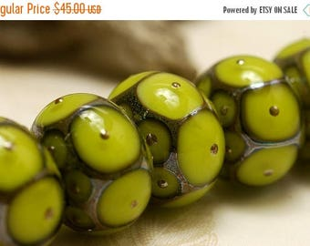 ON SALE 30% off Handmade Glass Lampwork Bead Set - Six Pear Green w/Metal Dots Rondelle Beads 10505021