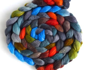 Merino/ Silk Roving (Top) - Handpainted Spinning or Felting Fiber, Campfire Night