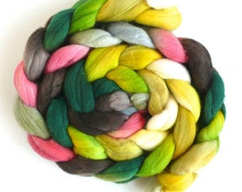 Spring Lamb, Rambouillet Wool Roving - Hand Painted Spinning or Felting Fiber