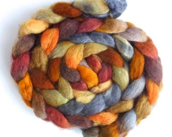 Noon Train, BFL Wool Roving - Hand Painted Spinning or Felting Fiber